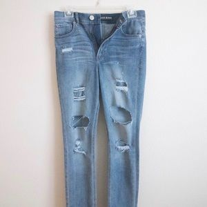 Express Distressed Super High Rise Skinny Jeans